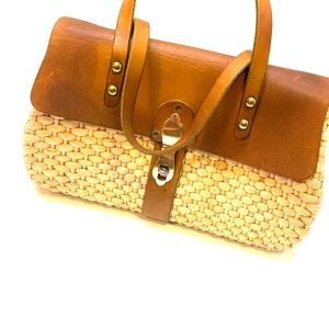 Vintage•Leather Woven Hand Bag